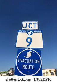 Hurricane evacuation route road sign.