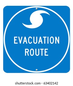 Hurricane Evacuation Sign on white background. Utilizes real road sign font for optimum quality. Clipping Path Included.