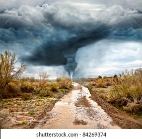 Hurricane, flooded road in prairie and dramatic sky background. Represent apocalypse and disaster