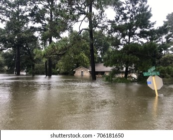 Hurricane Harvey 2017, flooding in North Hill Estates off East Cypresswood in Spring Texas, a couple miles north of Houston.