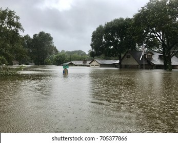 Hurricane Harvey 2017, flooding in Spring Texas a couple miles north of Houston off East Cypresswood  Drive.