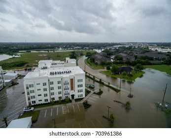 Hurricane Harvey Flooded Streets in League City Texas i45 and 518