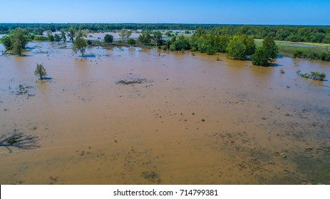 Hurricane Harvey Flooding in Small Town along Colorado River aerial drone view of Massive amounts of Water covering the entire landscape