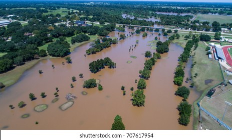 Hurricane Harvey Floods Small Town in Texas along the Colorado River in Columbus , Texas as the Colorado River Crested and left homes and roads underwater