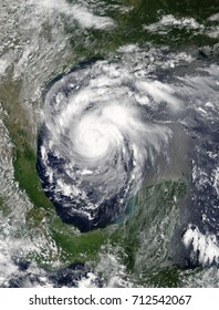 Hurricane Harvey in the Gulf of Mexico. Viewed from space. Elements of this image are furnished by NASA.
