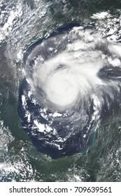Hurricane Harvey heading towards Houston, Texas - Elements of this image furnished by NASA