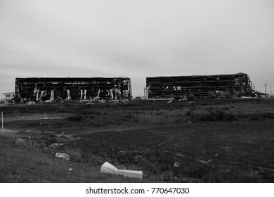 Hurricane Harvey major wind damage and destruction to steel framed boat storage buildings at Cove Harbor in Rockport, Texas / USA.