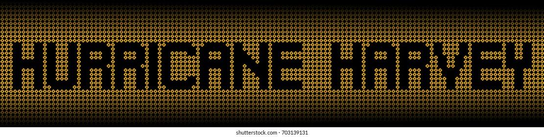 Hurricane Harvey text on warning signs illustration