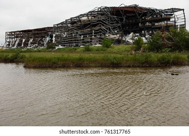 Hurricane Harvey wind damage to dry boat storage steel building in Rockport, Texas / USA.