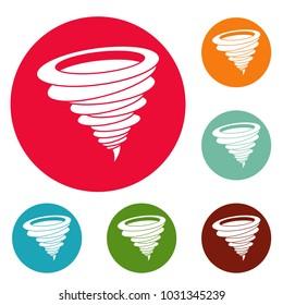 Hurricane icons circle set  isolated on white background