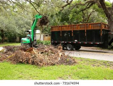 Hurricane Irma debris removal in a residential neighborhood.