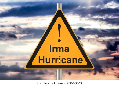 Hurricane Irma road sign concept, 3D rendering