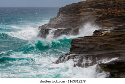 Hurricane Lane generates big waves off of the east shore of Oahu Hawaii - see waves crashing into the cliffs of East Oahu.