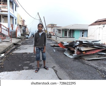 Hurricane Maria destroyed everything during its passage on the Island of Dominica. This child in Martinique with his family,no water, no electricity, nothing.   09/18/2017