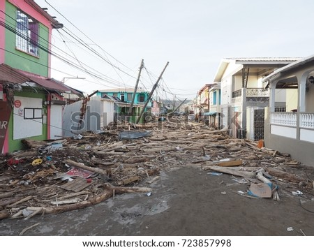 Hurricane MARIA on the island of Dominica Hurricane force 5 hit the whole island, 95% of homes are destroyed.the water and electrical supply system is demolishedThe population is terrified 09/18/2017.