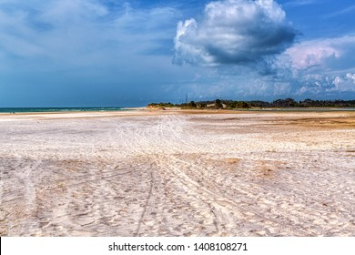 Hurricane Michael made part of St. Joe State Park an island. The sand area used to be a paved road the lead to the camp ground area of the park.