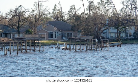 The hurricane Michael and storm surge causes property damage among the people in Panhandle Florida