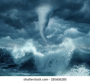 Hurricane in the ocean