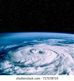 Hurricane on earth from space. On earth. The elements of this image furnished y NASA.