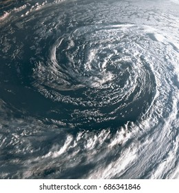 Hurricane on Earth viewed from space. Typhoon over planet Earth.