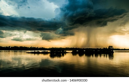 Hurricane over louisiana. Storm clouds and rain over the Mississippi