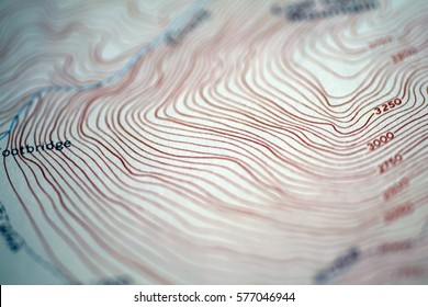 Hurricane ridge area in Olympic Mountains, Washngton  - Topographic map view with low depth of field, intentionally blurred
