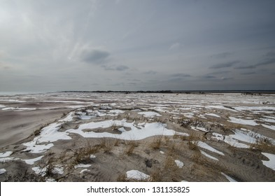 """Hurricane Sandy caused an over wash near the """"Old Inlet"""" area of Fire Island National Seashore off Long Island, New York."""