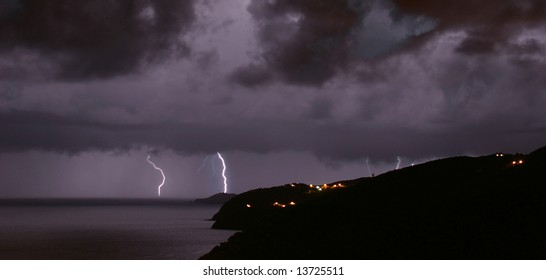 Hurricane season in the Caribbean spawns frequent violent thunderstorms and lightning. St Thomas, US Virgin Islands.