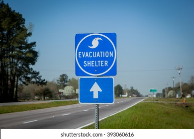 Hurricane shelter sign.