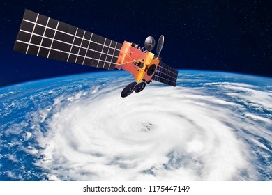 Hurricane, typhoon over planet Earth - satellite above the Earth makes measurements of the weather parameters.. Elements of this image furnished by NASA