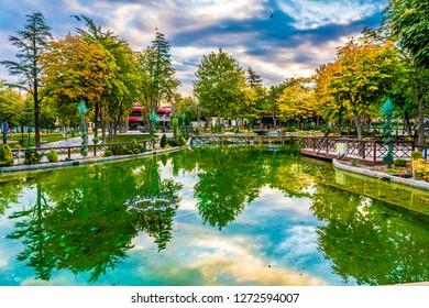 Hurriyet Park view in Malatya city at the Morning