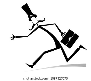 Hurry and busy man isolated illustration. Hurry and busy long mustache man in the top hat with a bag black on white illustration