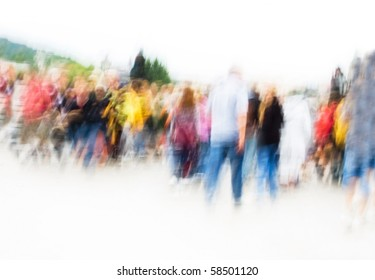 Hurrying crowd of people. Abstract picture.