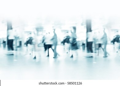 Hurrying crowd of people in the subway corridor. Abstract picture.