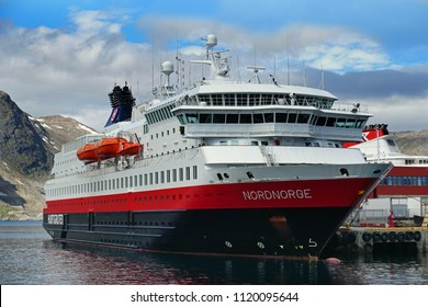 Hurtigruten ship in Honningsvag , Norway. 19th June 2018. for editorial use only