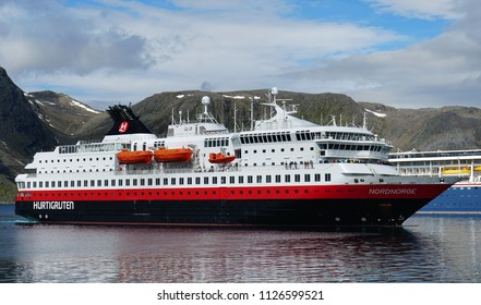 Hurtigruten ship in Norwegian sea. Honningsvag, Norway. 19th June 2018. For editorial use only
