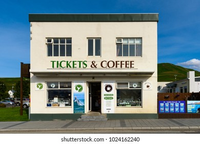 HUSAVIK, ICELAND - AUGUST 21, 2017: Tockets and Coffee in Husavík, a town in Nordurping municipality on the north coast of Iceland