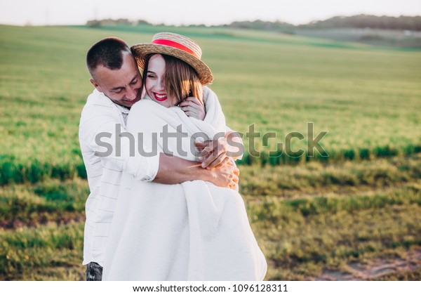 Husband His Pregnant Wife Walking Sunset People Stock Image 1096128311