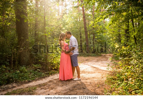 Husband His Pregnant Wife Walking Sunset People Stock Image 1172196544