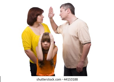 Husband is striking wife.  Parents swear, and children suffer. Girl suffers while parents argue vehemently in white background.  Couple fighting