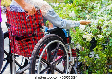 husband supporting care his wife on wheelchair in the garden