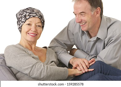 husband supportive attitude after wife' s chemotherapy -  woman wearing protective headscarf