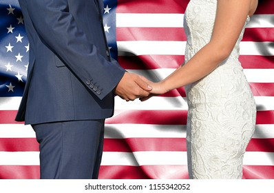 Husband and Wife holding hands - Conceptual photograph of marriage in United States of America