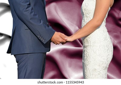 Husband and Wife holding hands - Conceptual photograph of marriage in Qatar