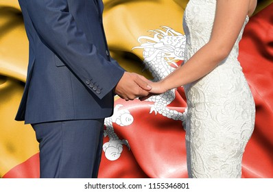 Husband and Wife holding hands - Conceptual photograph of marriage in Bhutan