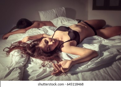 Husband and wife are sleeping with fatigue hard after sex.