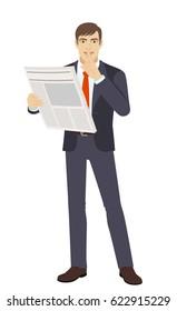 Hush hush. Businessman with newspaper making hush sign. Full length portrait of businessman in a flat style. Raster illustration.