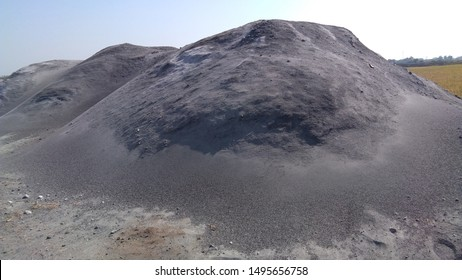husk ash mountain with beautiful blue sky