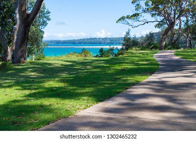 Huskisson, NSW, Australia-December 22, 2018: Water view from coastal walking path in the city of Huskisson, NSW, Australia, a small coastal town well known as gateway to Jervis Bay area
