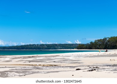 Huskisson, NSW, Australia-December 22, 2018: View over the beach in the city of Huskisson, NSW, Australia, a small coastal town well known as gateway to Jervis Bay area